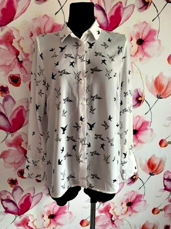 new look koszula jak nowa modny wzór ptaki hit blog roz.40