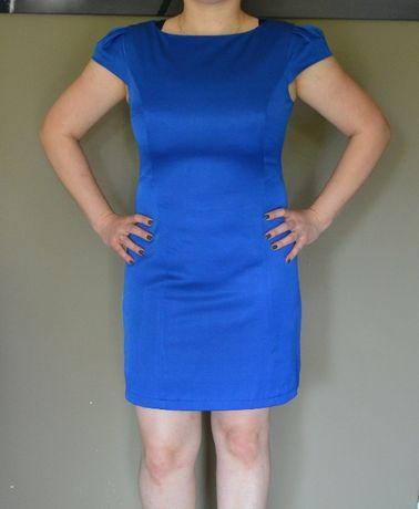 chabrowa, kobaltowa elegancka sukienka o ołówkowym kroju ATTENTIF
