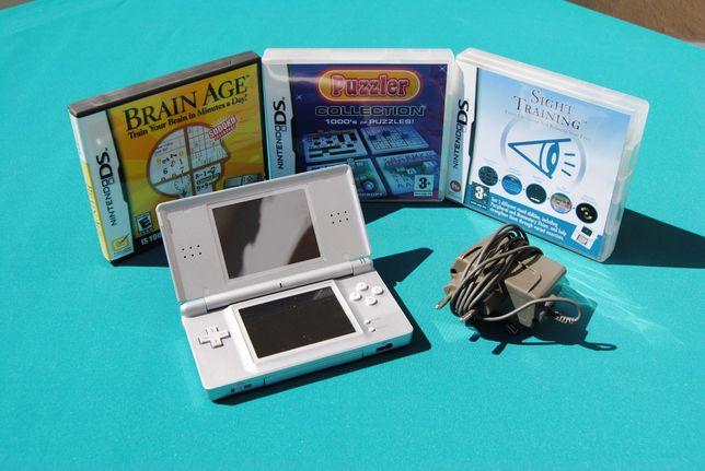 Nitendo DS Lite Cinzenta + Carregador + Jogos (A FUNCIONAR)