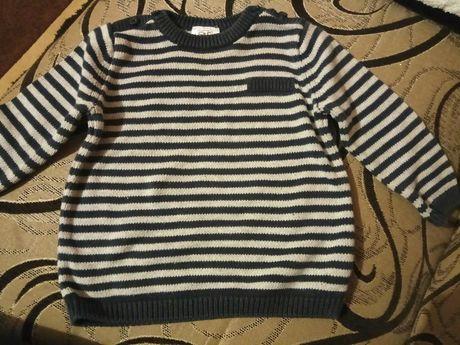 Elegancki granatowo - biały sweter sweterek f&f rozmiar 68 jak nowy