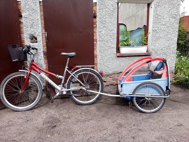 Rower z wozkiem dla dziecka