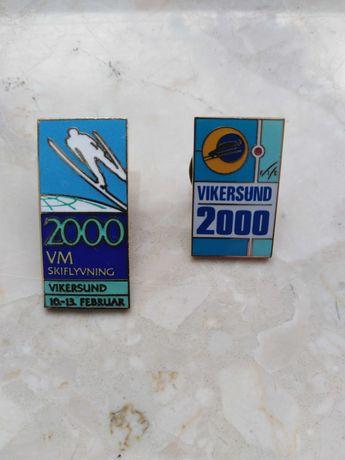 Przypinki metalowe, pamiątki, skoki narciarskie vikersund 2000