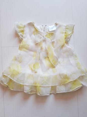 Sukienka żólto biała kwiaty 56 cm