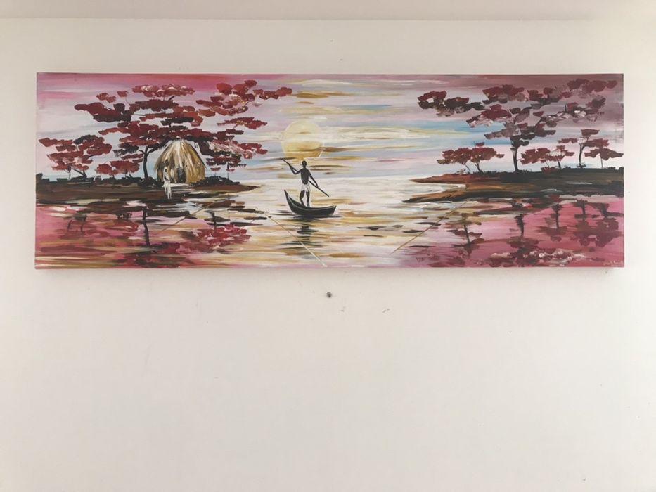 Pintura em acrílico paisagem Barqueiros - imagem 1
