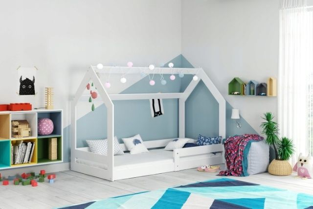 Łóżko dziecięce domek z materacem 160x80 lakierowane na biało