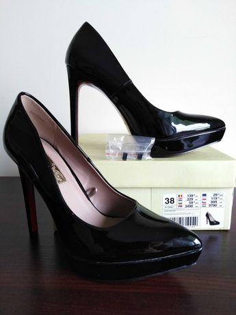 Czarne szpilki lakierowane, buty damskie rozm. 38