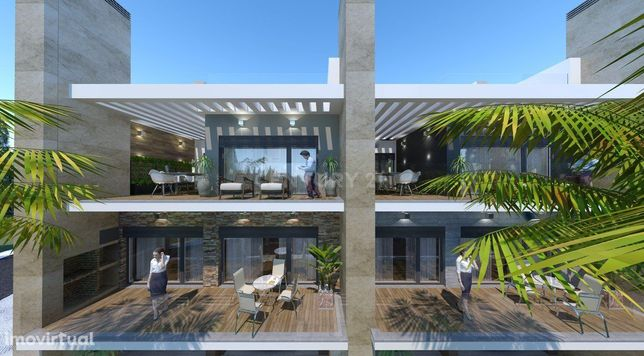 Moradia T5 em Banda, Lote 14, área bruta de construção de 386 m2, Vial