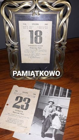 Kartka z kalendarza, kartki z kalendarza 1961,1964,1965,1967...2021