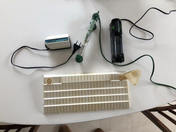 Kit aquariofilia - Bomba, aquecedor, filtros