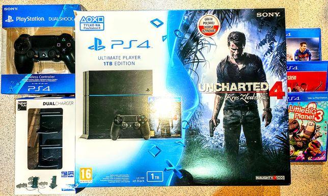 Konsola PlayStation 4 1TB dwa pady kable 3 gry ładowarka faktura PS4
