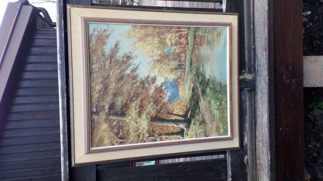 Obraz olej płótno sygnatura las pejzaż sztuka natura
