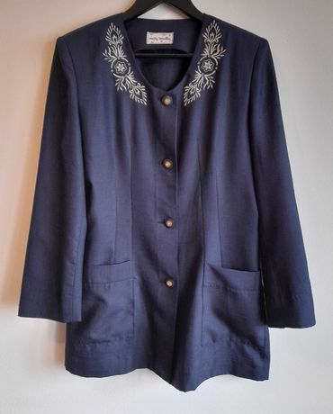 Casaco Vintage anos 80/90, azul marinho, bordado a prata. Tamanho M