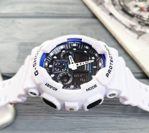 Часы мужские Касио G-Shock GA-100 спортивные белые кварц