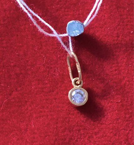 Золотой кулон с камнем цирконий 585 пробы