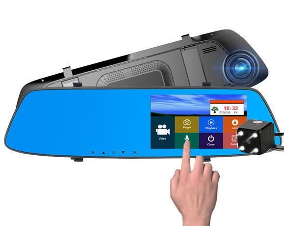 НОВЫЕ! L1001С две камеры, Зеркало видеорегистратор, экран сенсорный