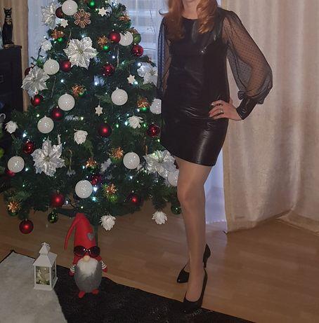 Czarna sukienka z Eko skóry, rozm. 38