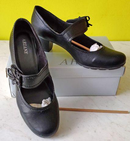 Skórzane buty, czółenka na obcasie kolor czarny rozmiar 41