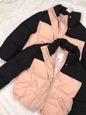 Розовая черная куртка курточка h&m розовый пуховик черный дубленка