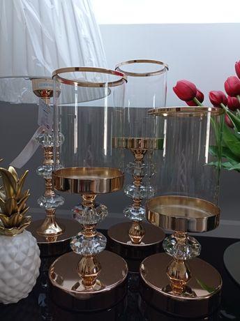 Świeczniki Glamour francuskie złoto w 3 rozmiarach