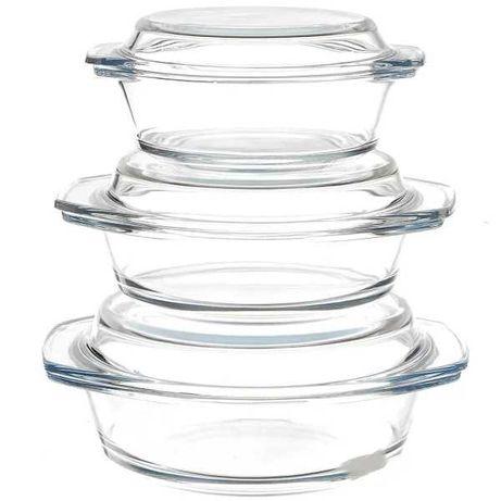 Набор кастрюль жаростойкок стекло 3шт с крышками.