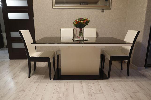 Stół szklany Czarno biały z krzesłami