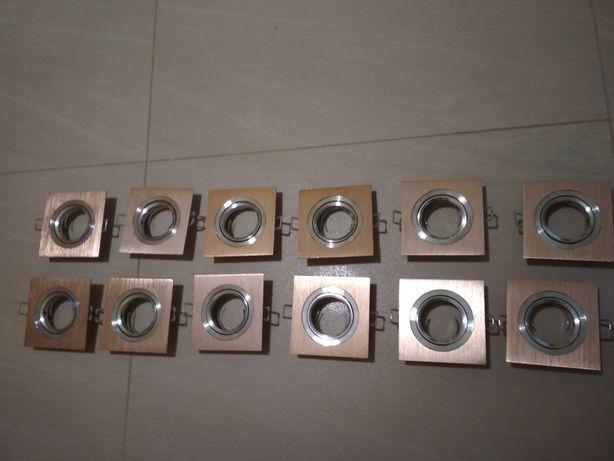 Oprawa Halogenowa LED SUFITOWA ZŁOTA GU10 POLUX + Żarówki LED 12 sztuk