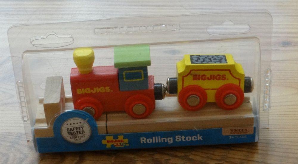 Kolejka drewniana mała lokomotywka z wagonem Bigjigs pociąg Rzeszów - image 1