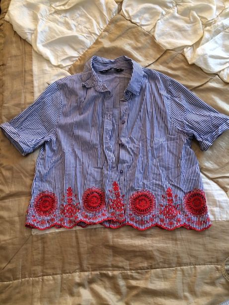 Рубашка в полоску с вышивкой Zara