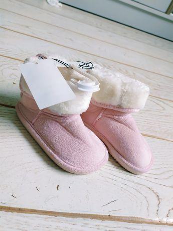 Nowe botki H&M 24 różowe zamsz kozaki pudrowy róż