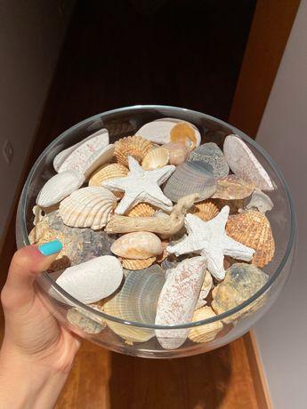 Taça decorativa de vidros e conchas