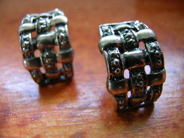Kolczyki srebrne na sztyfcie, PLECIONKA