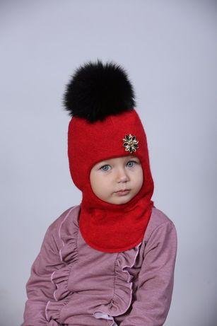 Шапка шлем для девочки зимняя