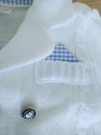 Sweterek marynarka biały chrzest 62 68