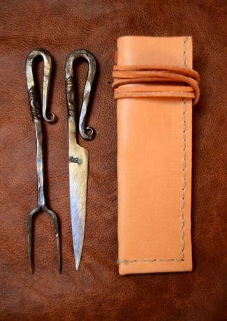 Sztućce nóż + widelec + pochewka - bushcraft