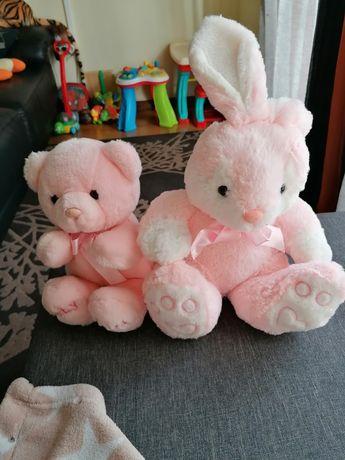 2 peluches Rosa (Urso/Coelho) óptimas condições