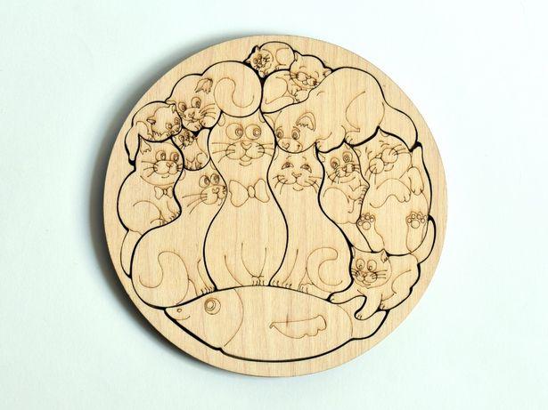 Пазл Кошечки котики пазл деревянный креативный подарок на день матери