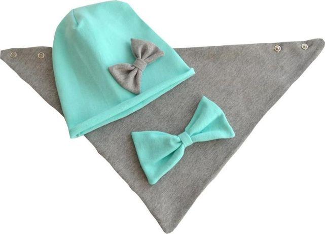 czapka i chusta naprzemienne kolory dresówka