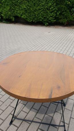 Stolik blat dębowy krzesło loft industrial