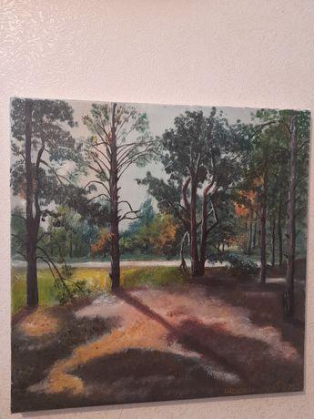 Картина маслом. Поляна в сосновом лесу. От автора.