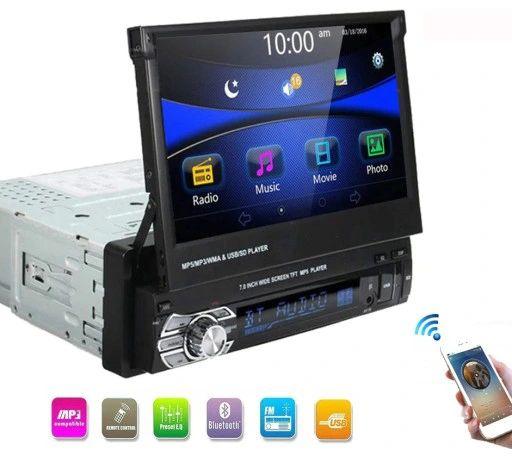 """Uniwersalne Radio samochodowe LCD 7"""" 1DIN KAMERA Wysuwany Ekran 1 DIN"""