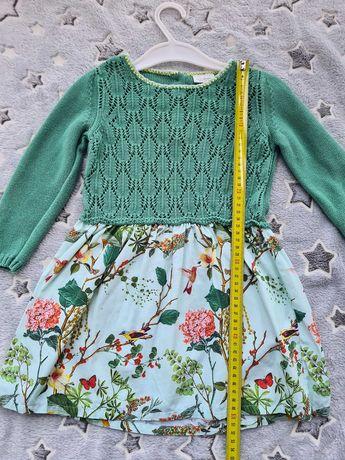 Sukienka next 92/98 dzianina kwiaty piękna zielona