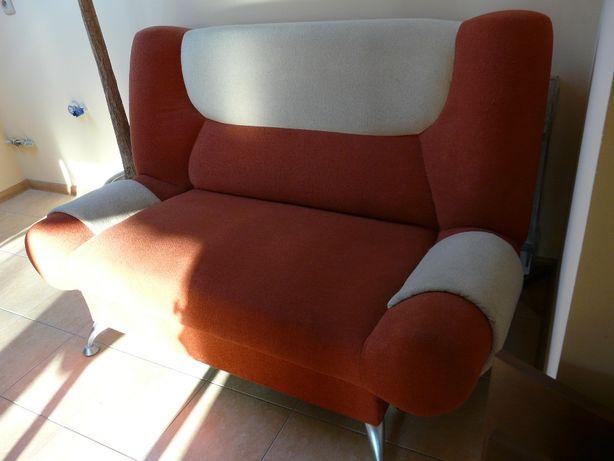 Fotel sofa 2 osobowa łagodny pomarańcz i beż