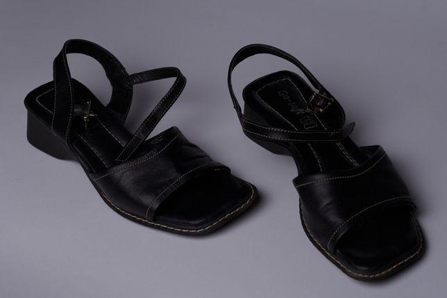 Ортопедичне взуття босоніжки чорні квадратний носок босоножки туфли
