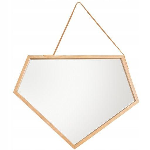 Asymetryczne lustro loft drewniane na pasku rama Białystok - image 1