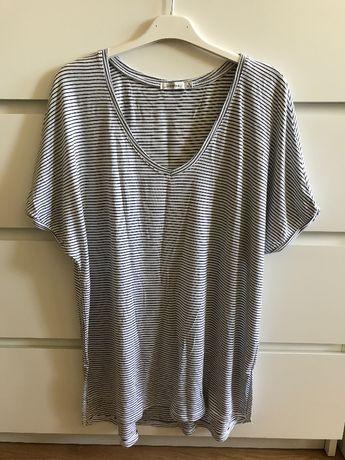Luźna bluzka z krótkim rękawem w biało-czarne paski rozmiar S Bershka