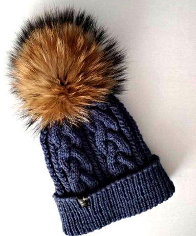 шапка хомут вязані