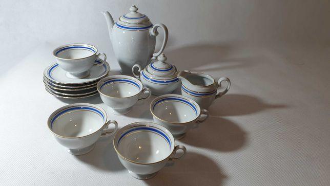 M833. Serwis do kawy biało niebieski vintage PRL