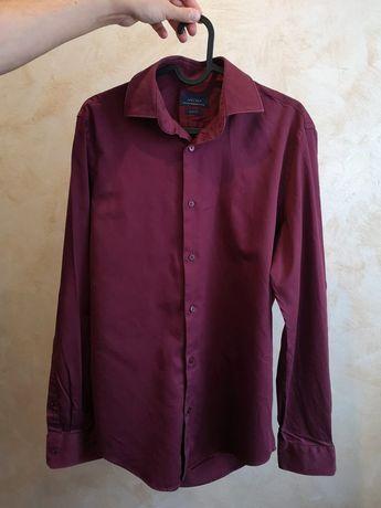 Koszula męska Zara S slim fit bordowa na święta świąteczna elegancka