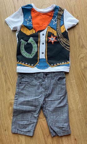 Zestaw C&A t-shirt szeryf rozm. 110, bermudy H&M szare rozm. 104