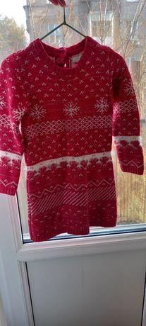 Теплое новогоднее нарядное платье 98р